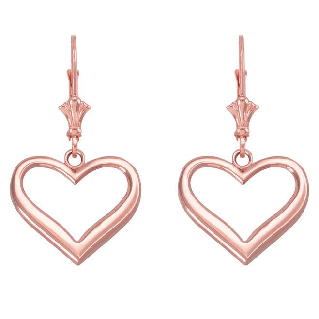 14k Rose Gold Polished Open Heart Earrings