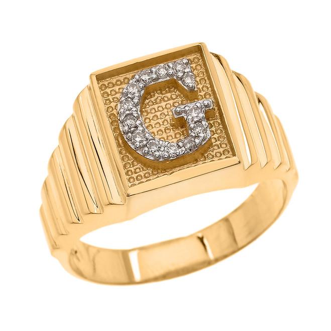 Yellow Gold Diamond Initial G Ring