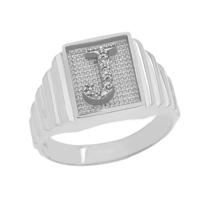 White Gold Diamond Initial J  Ring