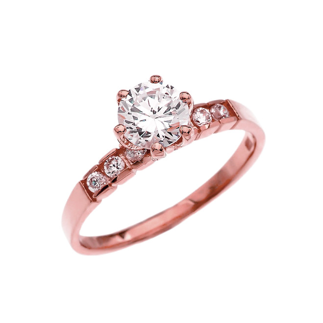Channel Set Diamond Solitaire Engagement Ring With 1 Carat White Topaz Center stone in Rose Gold