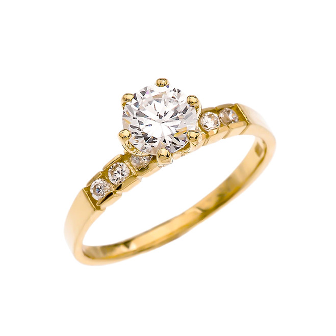 Channel Set Diamond Solitaire Engagement Ring With 1 Carat White Topaz Center stone in Yellow Gold