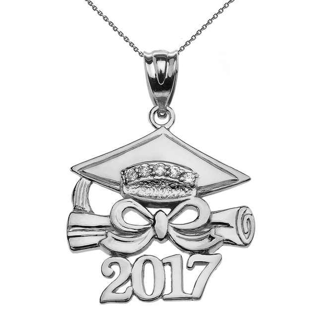 925 Sterling Silver Class of 2017 Graduation Cap Pendant Necklace with Diamond