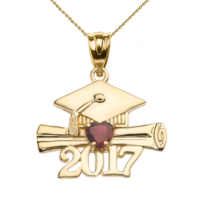 Yellow Gold Heart January Birthstone Garnet CZ Class of 2017 Graduation Pendant Necklace