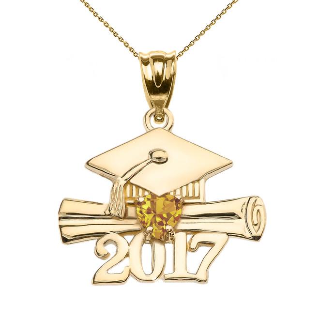 Yellow Gold Heart November Birthstone Yellow CZ Class of 2017 Graduation Pendant Necklace
