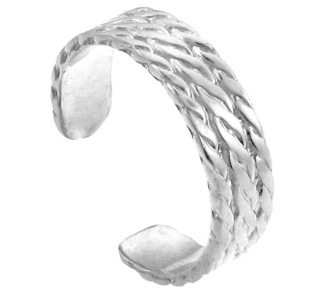 White Gold Bold Milgrain Toe Ring