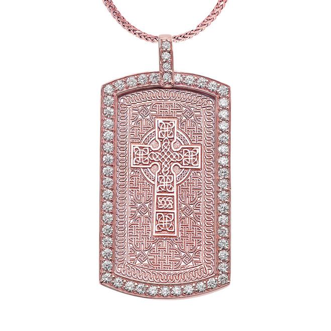 Celtic Cross Trinity Knot  Diamond Rose Gold Dog Tag Pendant Necklace