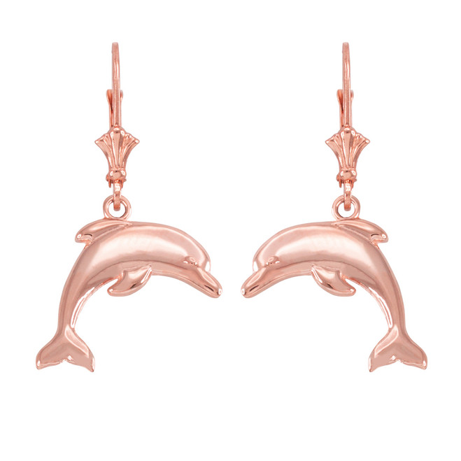 14k Rosee Gold Dolphin Earrings