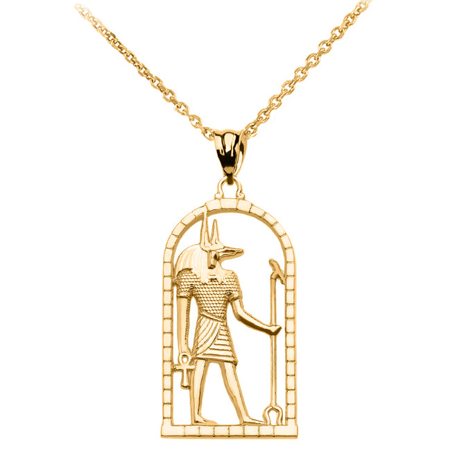 Yellow Gold Egyptian Anubis Pendant Necklace