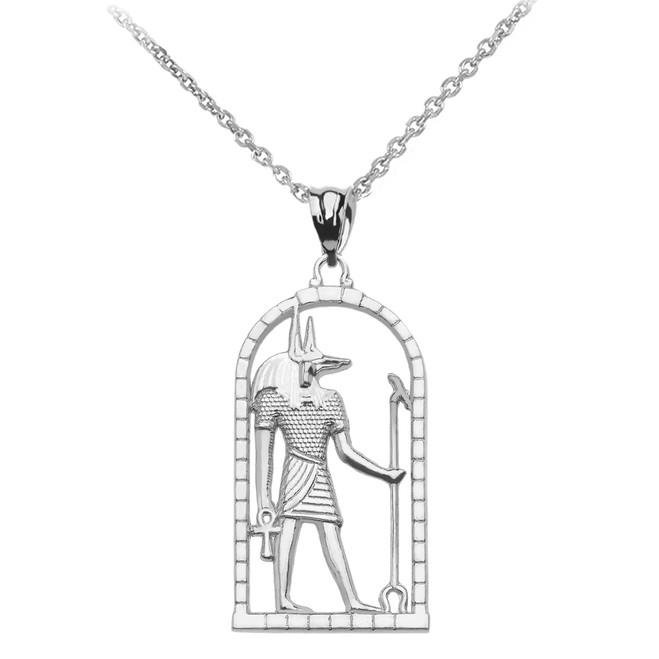 White Gold Egyptian Anubis Pendant Necklace