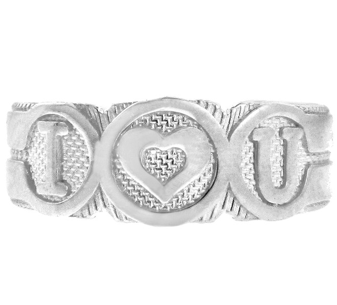 "White Gold ""I Heart U"" Toe Ring"