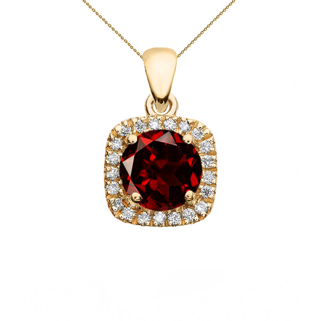 Halo Diamond and Genuine Garnet Dainty Yellow Gold Pendant Necklace