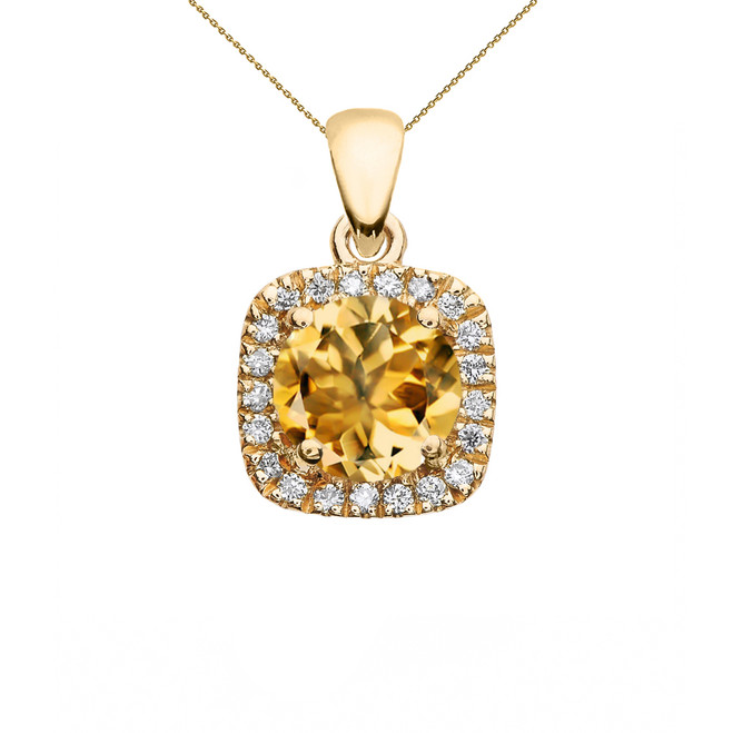 Halo Diamond and Citrine Dainty Yellow Gold Pendant Necklace