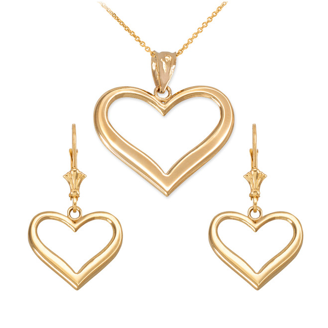 14K Yellow Gold Polished Open Heart Necklace Earring Set