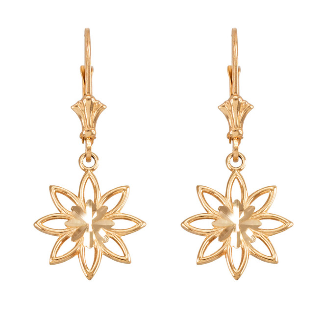 Yellow Gold Polished Daisy Earrings