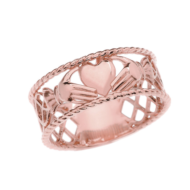 Rose Gold Claddagh Heart Celtic Knot Ring
