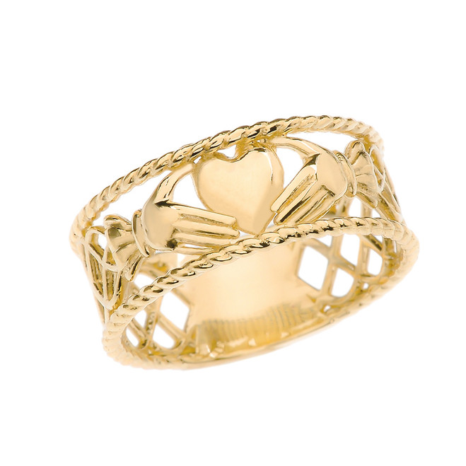 Yellow Gold Claddagh Heart Celtic Knot Ring