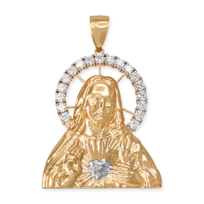 Yellow Gold Sacred Heart Of Jesus Pendant