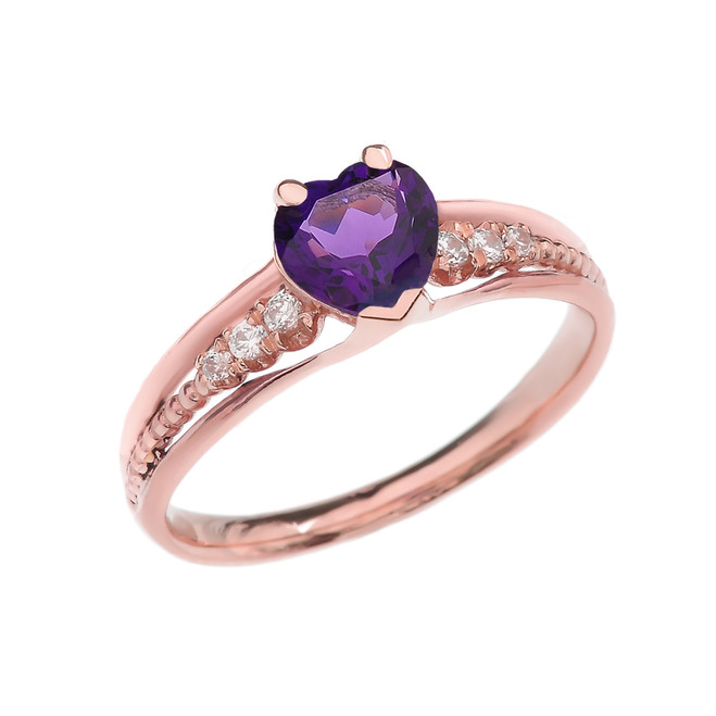 Diamond And Amethyst Heart Rose Gold Beaded Proposal Ring