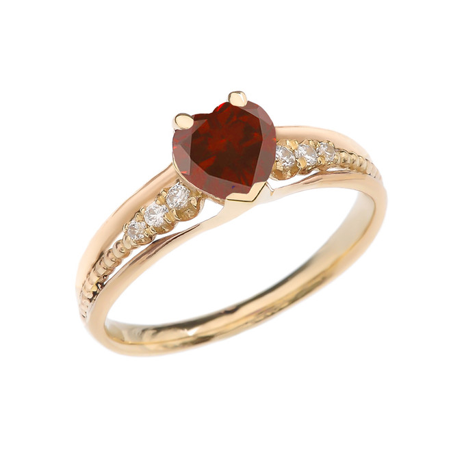 Diamond And Garnet Heart Yellow Gold Beaded Proposal Ring