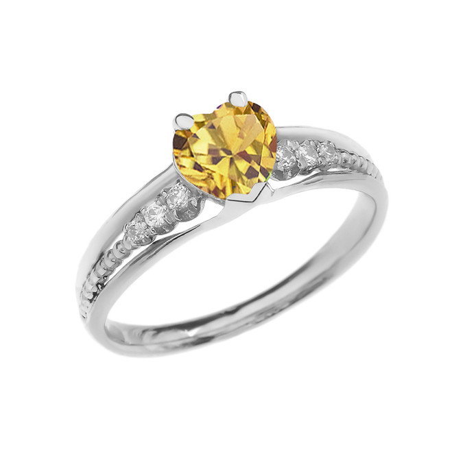 Diamond And Citrine Heart White Gold Beaded Proposal Ring
