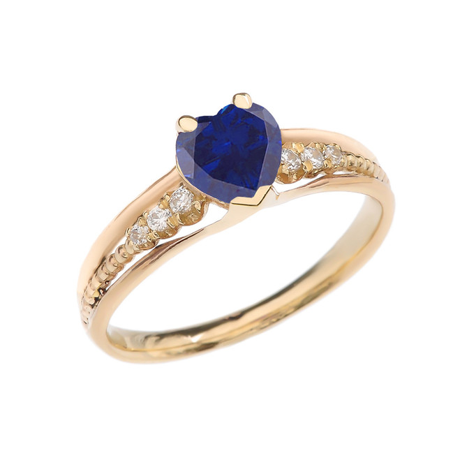 Diamond And (LCS) September Birthstone Sapphire Heart Yellow Gold Beaded Proposal Ring