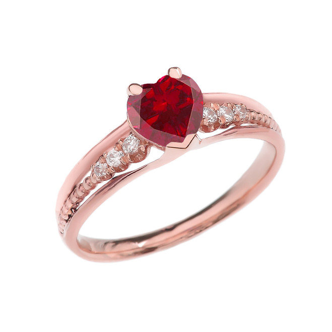 Diamond And July Birthstone (LCR) Ruby Heart Rose Gold Beaded Proposal Ring