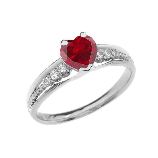 Diamond And July Birthstone (LCR) Ruby Heart White Gold Beaded Proposal Ring