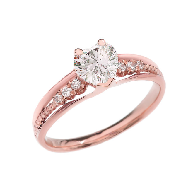Diamond And April Birthstone White CZ Heart Rose Gold Beaded Proposal Ring