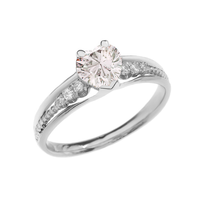 Diamond And April Birthstone White CZ Heart White Gold Beaded Proposal Ring