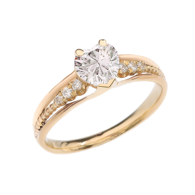 Diamond And April Birthstone White CZ Heart Yellow Gold Beaded Proposal Ring