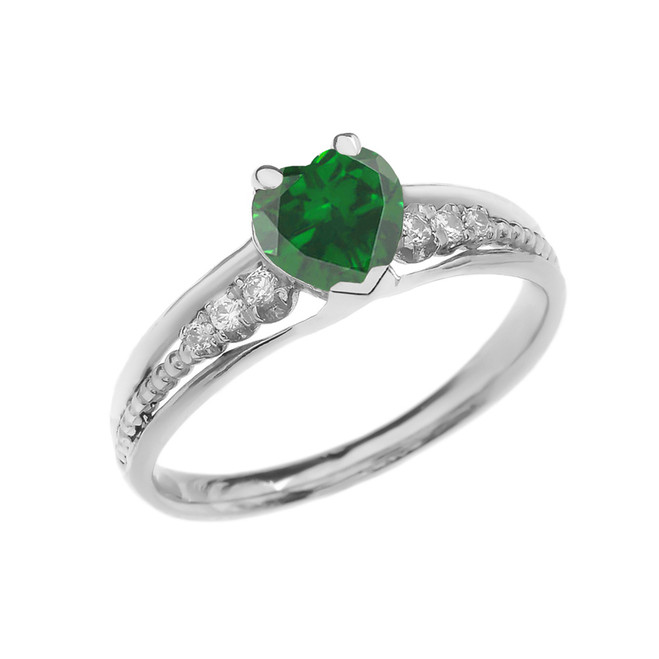 Diamond And May Birthstone (LCE) Emerald Heart White Gold Beaded Proposal Ring