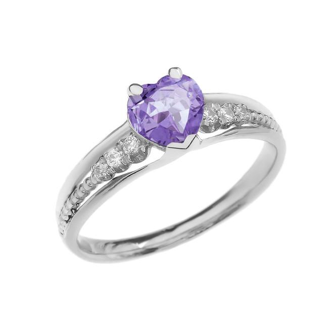 Diamond And June Birthstone (LCA) Alexandrite Heart White Gold Beaded Proposal Ring
