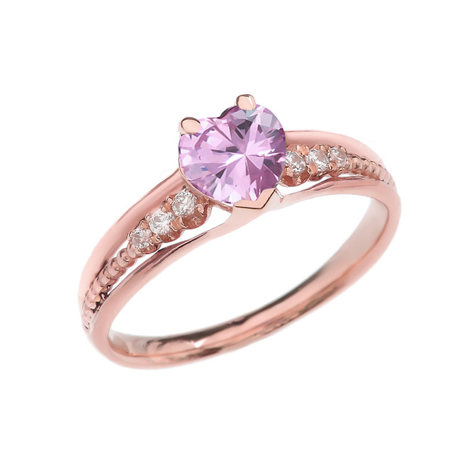 Diamond And October Birthstone Pink CZ Heart Rose Gold Beaded Proposal Ring