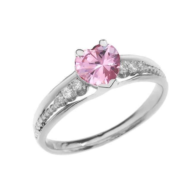 Diamond And October Birthstone Pink CZ Heart White Gold Beaded Proposal Ring
