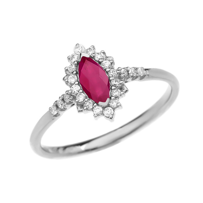 Diamond and Marquise Ruby White Gold Proposal Engagement Ring