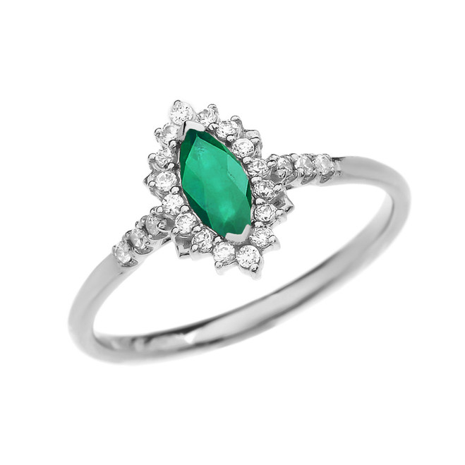 Diamond and Marquise (LCE) Emerald White Gold Proposal Engagement Ring