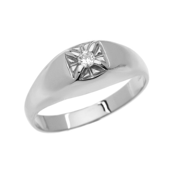 Diamond White Gold Men's Pinky Ring