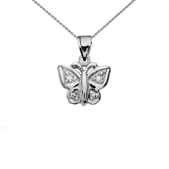 Diamond Butterfly Sterling Silver Charm Pendant Necklace