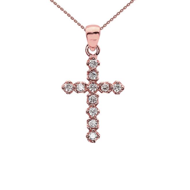 High Polish Reversible Diamond Cross Elegant Rose Gold Pendant Necklace
