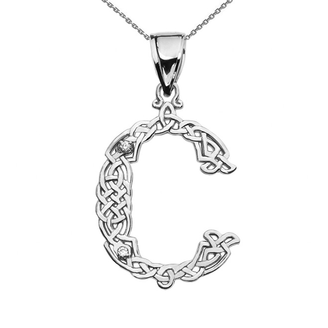 """C"" Initial In Celtic Knot Pattern White Gold Pendant Necklace With Diamond"