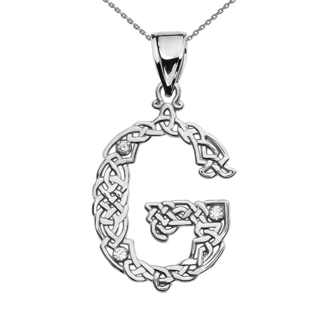 """G"" Initial In Celtic Knot Pattern White Gold Pendant Necklace With Diamond"