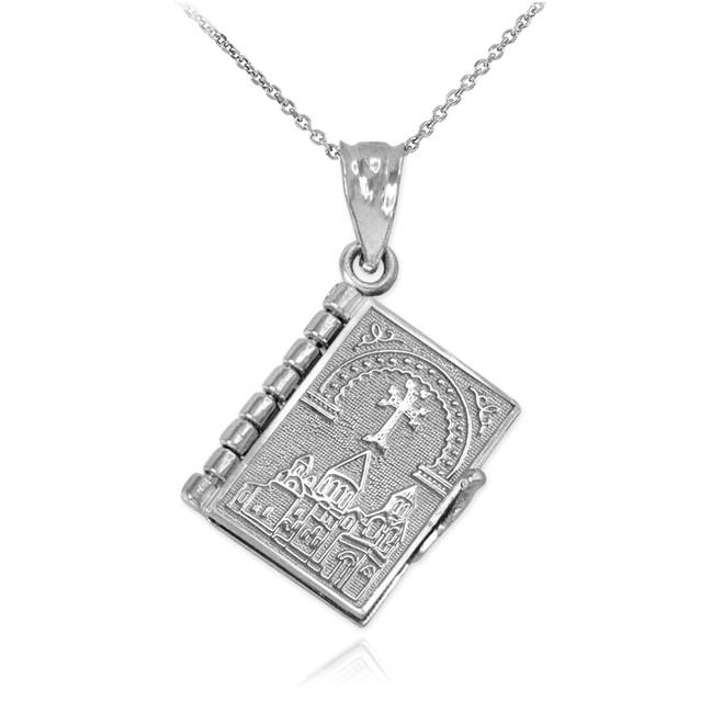Sterling Silver 3D Armenian Bible Pendant Necklace