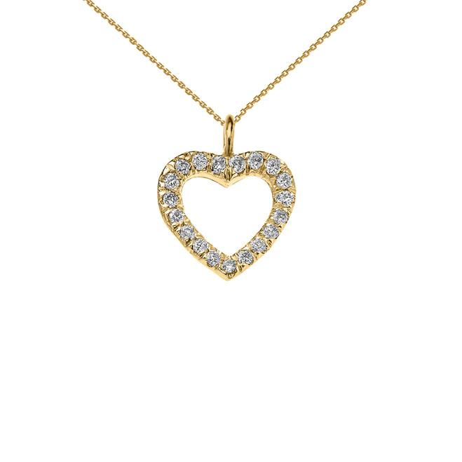 14K Reversible Diamond and High Polish Plain Open Heart Yellow Gold Charm Dainty Pendant Necklace
