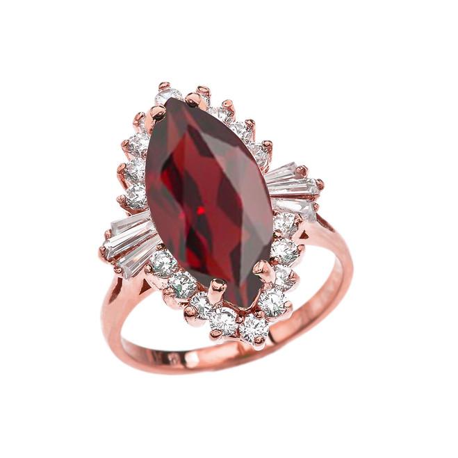 4 Ct CZ Garnet January Birthstone Ballerina Proposal Ring