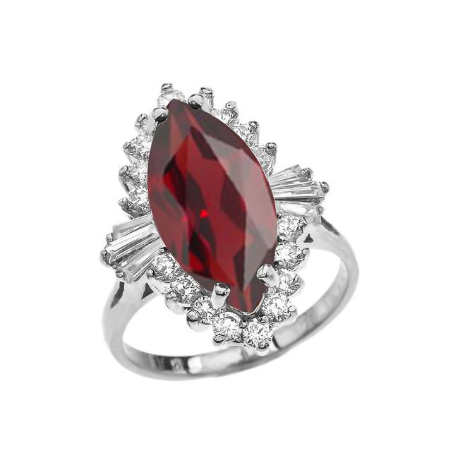 4 Ct CZ Garnet January Birthstone Ballerina White Gold Proposal Ring
