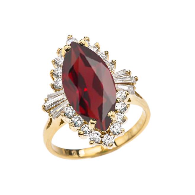 4 Ct CZ Garnet January Birthstone Ballerina Yellow Gold Proposal Ring
