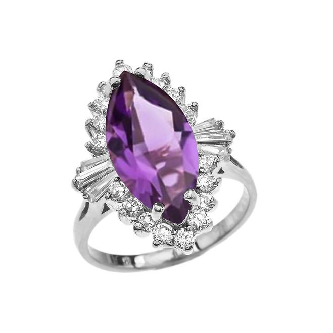 4 Ct CZ Amethyst February Birthstone Ballerina White Gold Proposal Ring