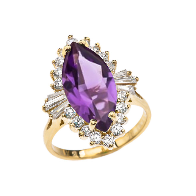 4 Ct CZ Amethyst February Birthstone Ballerina Yellow Gold Proposal Ring