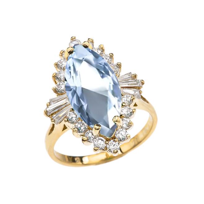 4 Ct Aquamarine CZ March Birthstone Ballerina Yellow Gold Proposal Ring