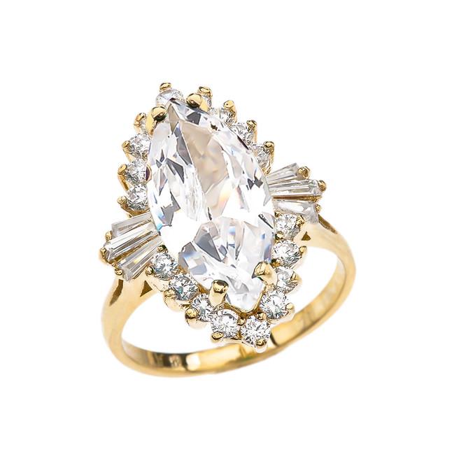 4 Ct CZ April Birthstone Ballerina Yellow Gold Proposal Ring